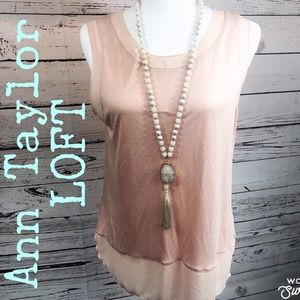 Ann Taylor LOFT Pale Pink Sleeveless Blouse